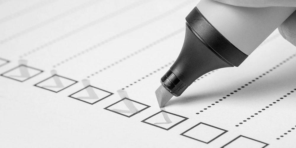 checklist and highlighter pen