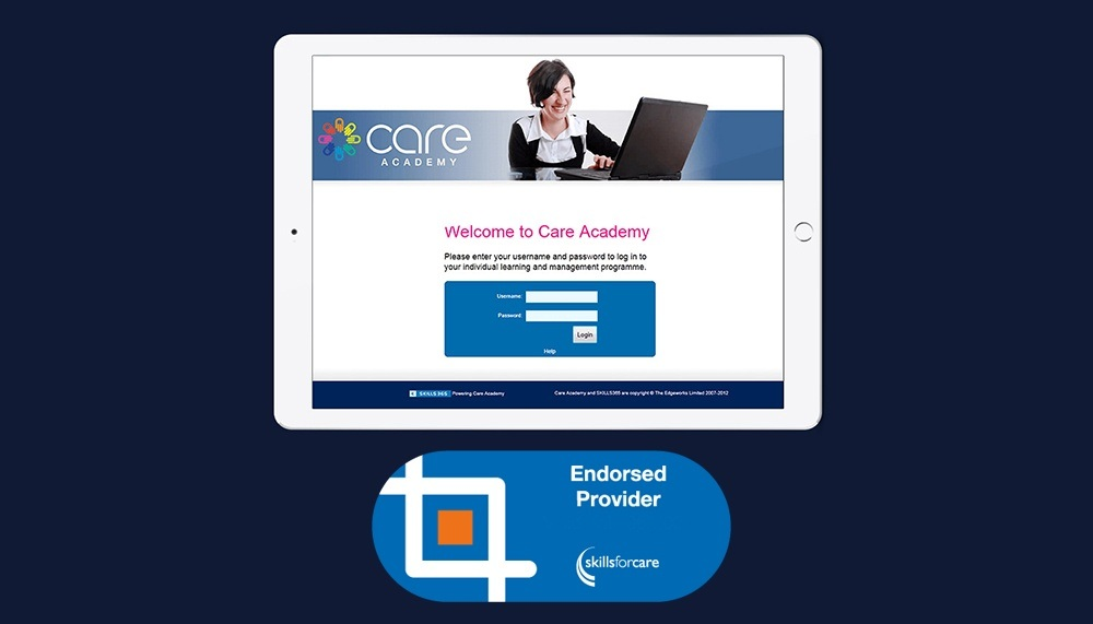Care Academy screen with Skills For Care Endorsed provider logo